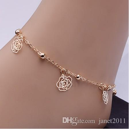 Rose Ankle Bracelets Hollow Flower & Beading Gold Tone Ankle Chain Foot Chains Barefoot Beach Sandals Yoga Foot Chain