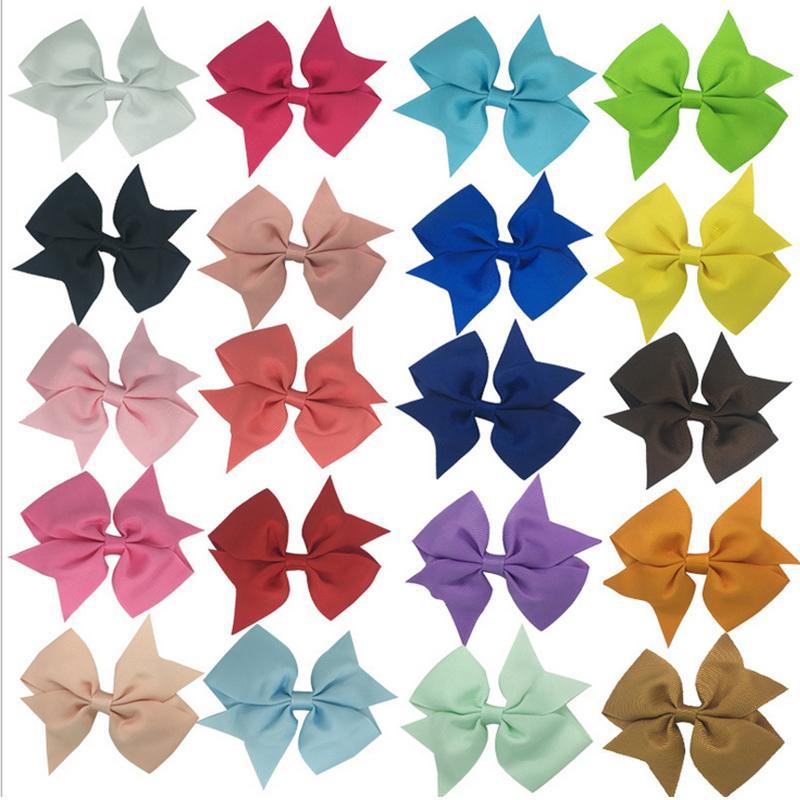 20 adet 20 Renkler Şerit Yaylar Klipler Firkete kızın saç yaylar Butik Saç Klip Headware Çocuk Saç Aksesuarları