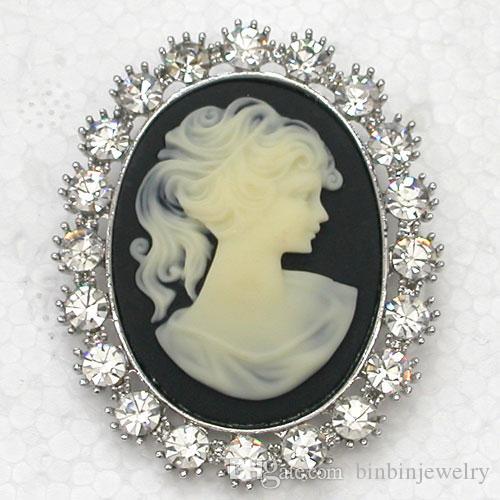 12pcs / lot Gros Cristal Strass Portrait Cameo Fête De Mariage Prom broches Costume De Mode Pin Broche Bijoux cadeau Pendentif C619