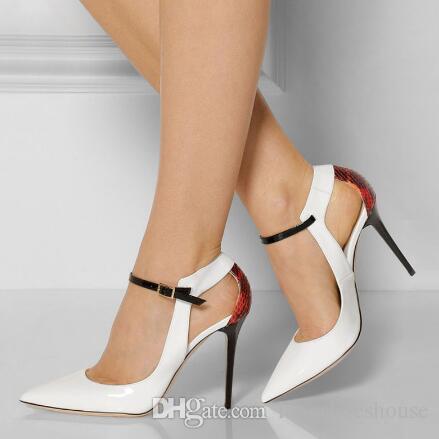 Verano de la hebilla del tobillo de la correa de las mujeres bombas tacones de aguja de las mujeres zapatos del banquete de boda sexy punta estrecha zapatos de tacones