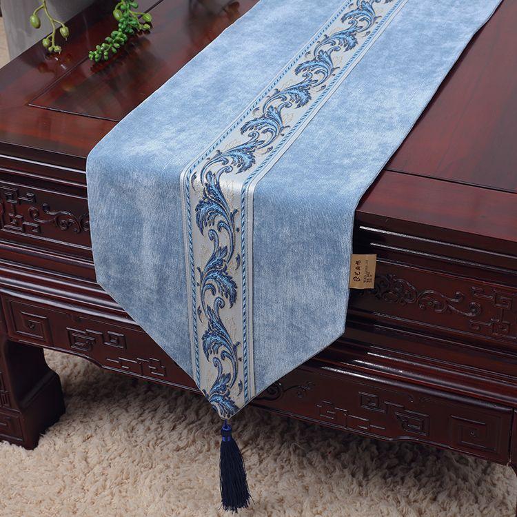 Luxe Courte Longue Dentelle Velours Tissu Table Basse Chemin De Table Décoration Tapis De Table Haut De Gamme Nappe Table Rectangulaire Coussins 150x33 cm