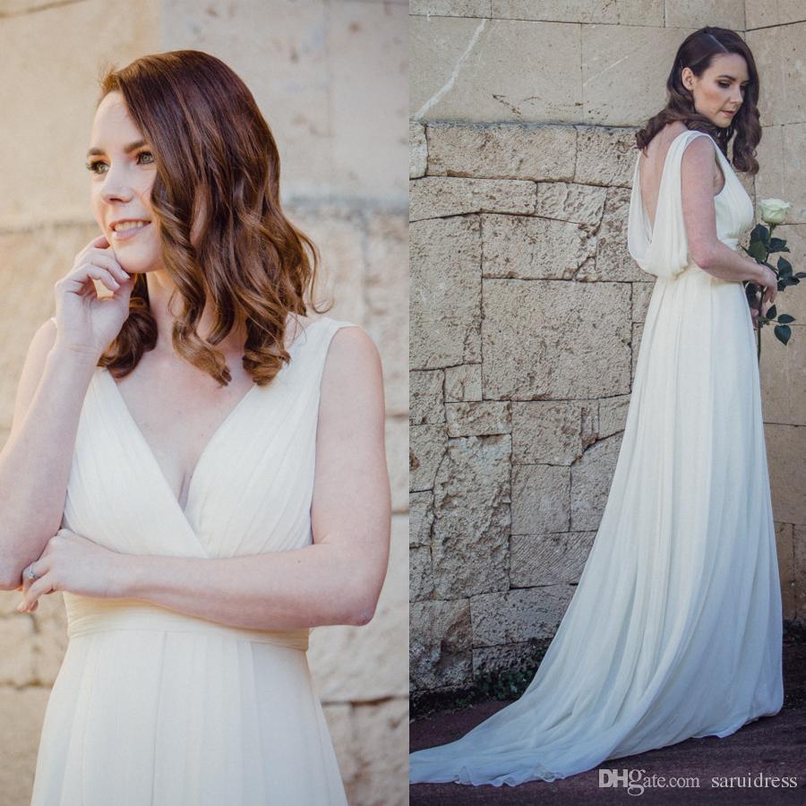 A Linha Reunidos Cintura Império decote V Dramatic colher Voltar vestido de noiva fazer para requisitar Sweep Trem Coleção nupcial