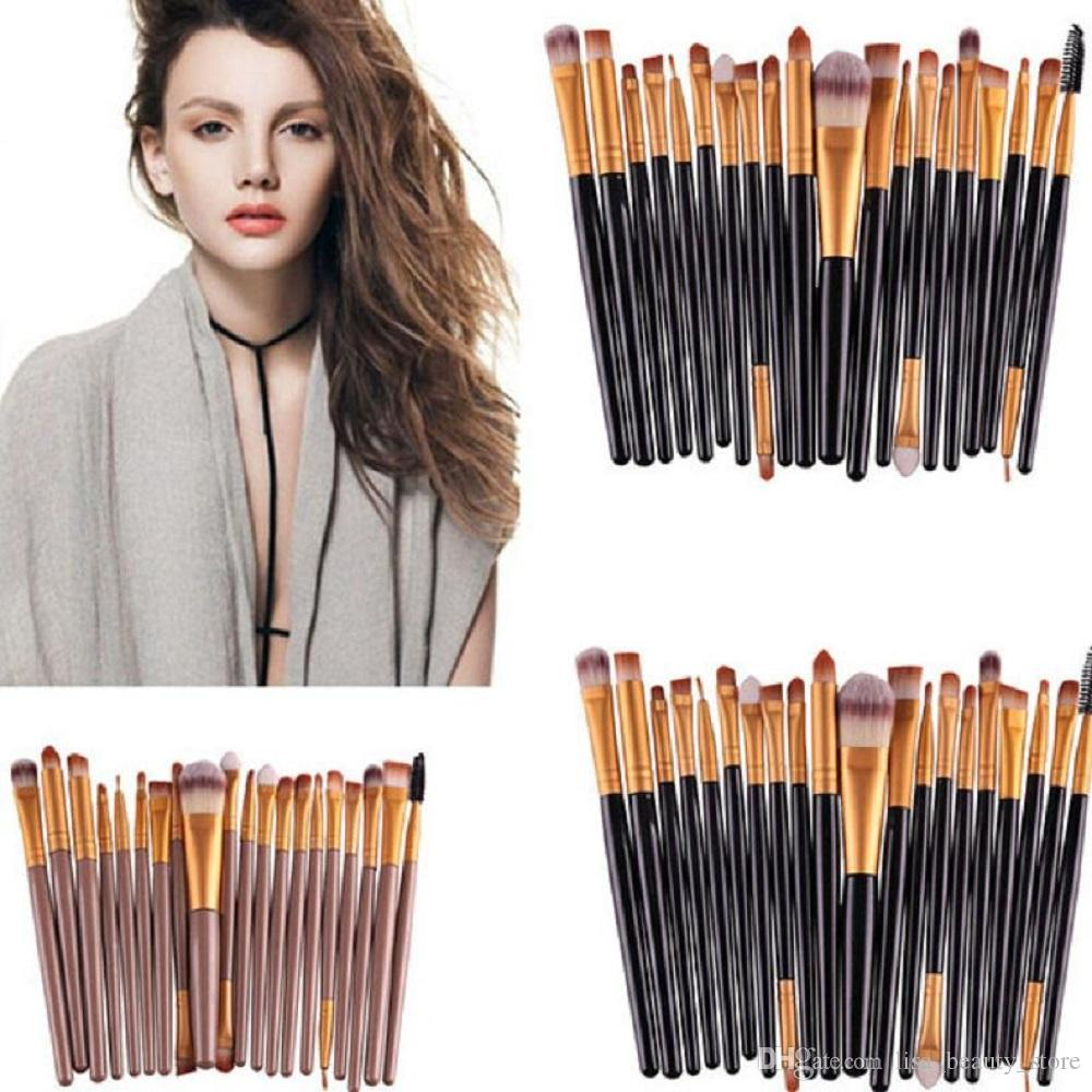 Professionnel 20 pcs / set Maquillage Pinceau Set Outils Maquillage Trousse De Toilette Laine Maquillage Brosse Set Doux Synthétique