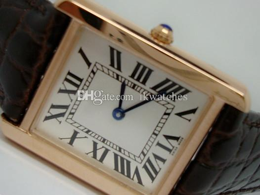 뜨거운 판매 망 여성 시계 로즈 골드 케이스 브라운 가죽 스트랩 화이트 다이얼 시계 쿼츠 시계 043 무료 배송