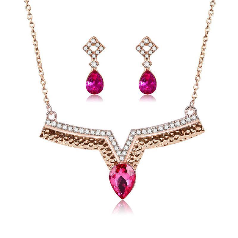 Exagération Mot Red Jewel Collier Boucles d'oreilles mariée bijoux costume Ensemble de bijoux Ornements
