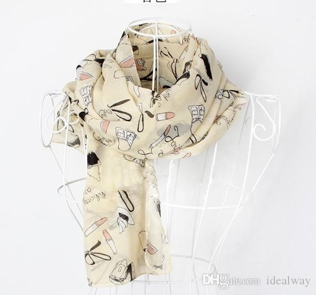 100% шелк Женщины шарф Любовь на высоком каблуке обуви помады Hat сумка Bowknot Graffita шарф платок Модные аксессуары