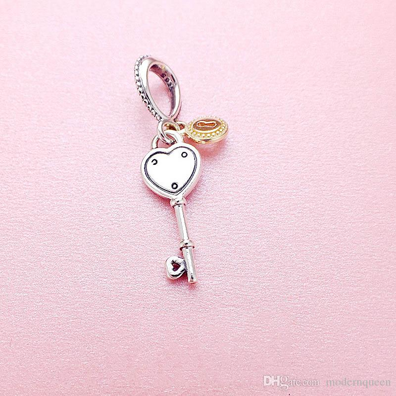 5 pcs/lot Key to My Hearts charms beads authentic 925 sterling silver fits pandora style bracelets 796593 H9