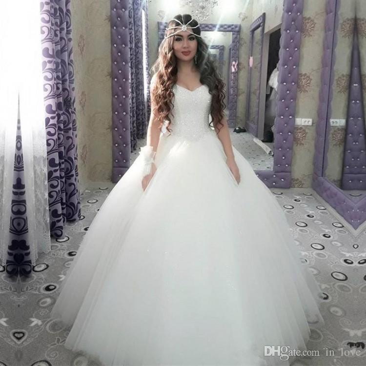 Бальное платье Принцесса Свадебные платья 2019 баскских талий кристаллов бисером топ тюль юбка длина пола свадебные платья нестандартного размера