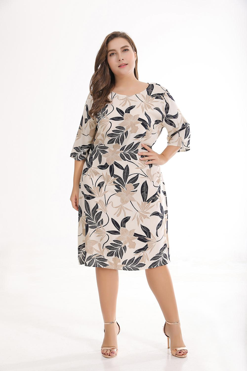 New Summer Casual Women Floral Print Dress 3/4 Sleeve Cotton Over Knee  Length Plus Size Dress Long Dresses Women Summer Dress Women From ...