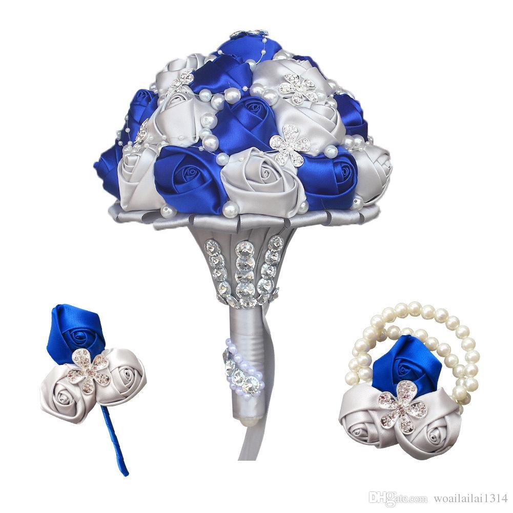 Hot Selling Silk Hand Flowers Diamond Wedding Bridal Bouquet
