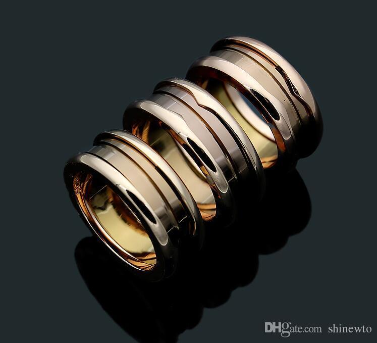Dama de la manera 316L de acero de titanio de cerámica de cerámica Edición de souvenir rosca boda compromiso 18K plateado anillos estrechos Size6-10