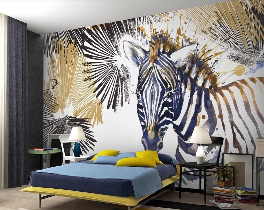 Benutzerdefinierte 3d Wandbilder 3D stereoskopische Linie Aquarell Zebra Tapete Wandbild Wohnzimmer Sofa TV Hintergrund 3D Wallpaper Roll