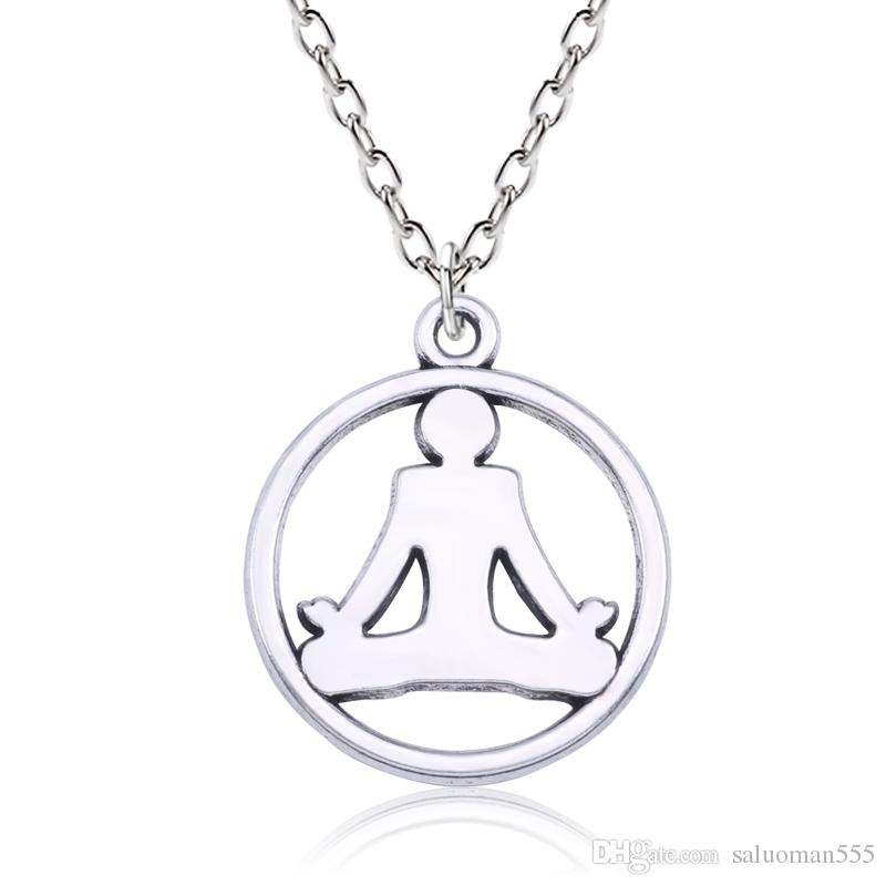 Fashion Hindu Buddhist OM Yoga Pendant Necklace Women Metal Silver Hollow Asana Vinyasa Girl Necklaces Inspiring Sport Jewelry