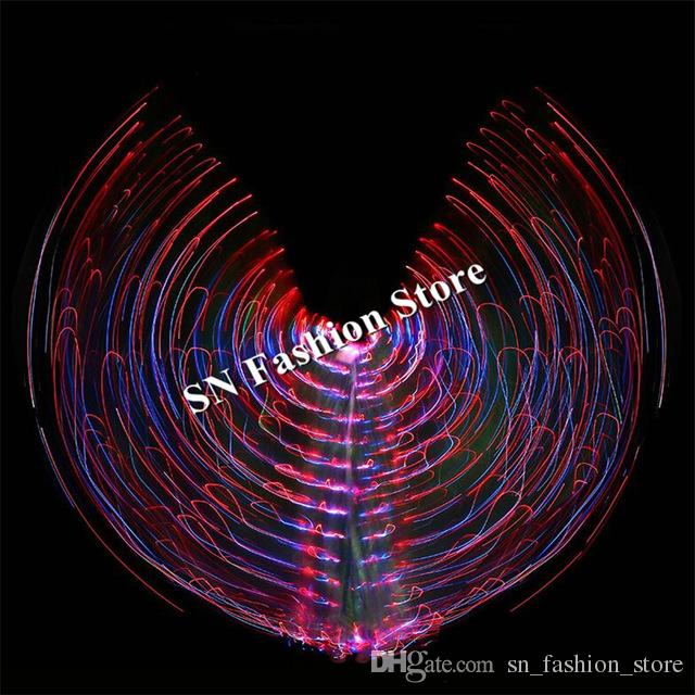 BC38 Ballroom dance led costumes luminous wings led cloak light women dress bar stage show wears led cloth party belly colorful performance