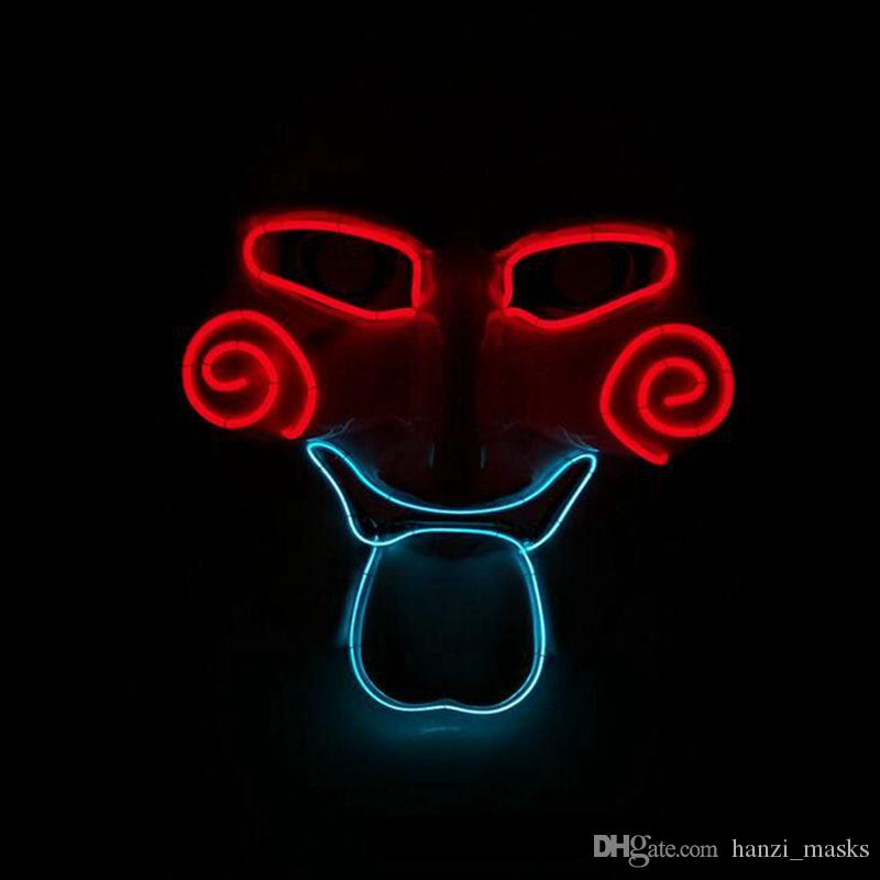 Hanzi_masks NEW Flashing Chainsaw EL Mask Battery Powered LED Neon Rope Party Mask Christmas,Dance,Night CLub