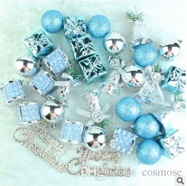32pcs Pack Christmas Tree Ball Ornament Xmas Hanger Pinecone Small Bell Mini Gift Box For Christmas Decoration Blue Silver Red Gold