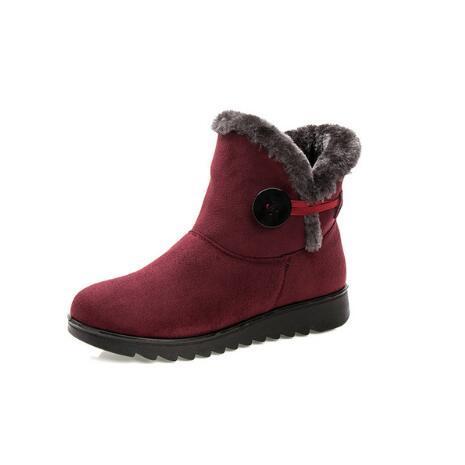 Heißer Verkauf Schuhe Frauen Stiefel Solide Slip-On Weiche Nette Frauen Schnee Stiefel Runde Kappe Flache mit Winterpelz Stiefeletten