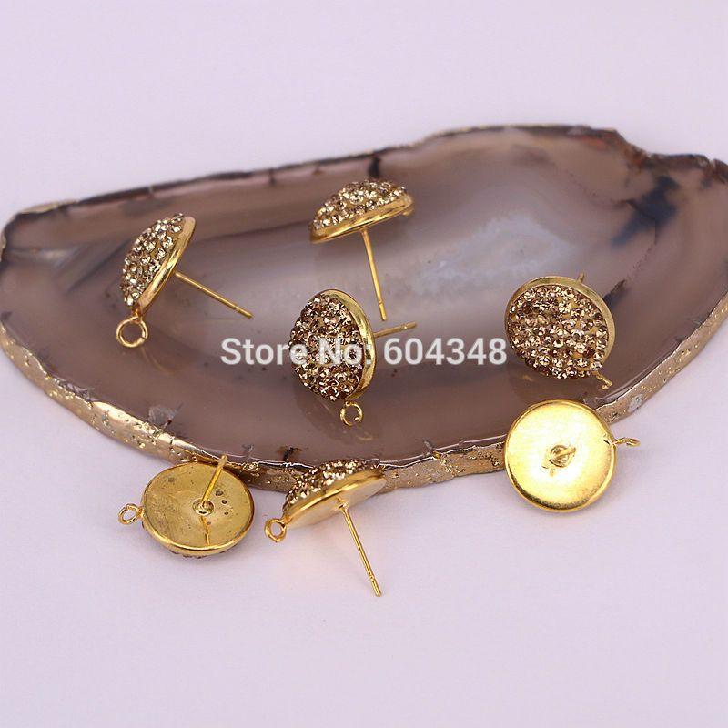 10Pair Orecchini a forma rotonda con borchie per gioielli in strass