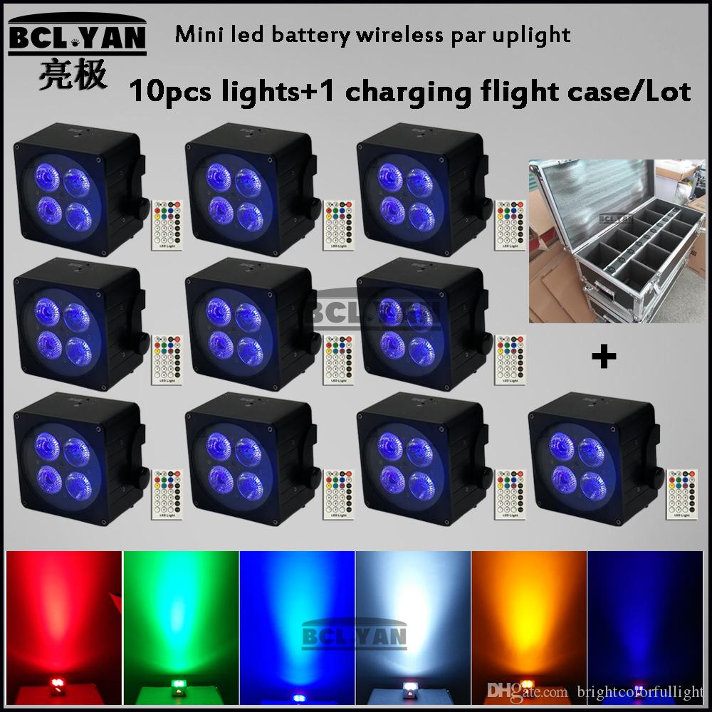 DMX Wireless Battery Powered LED Par Light RGBWA UV 6in1 Color Wash DJ Night club lights 4*18w IRC 10PCS with fly case