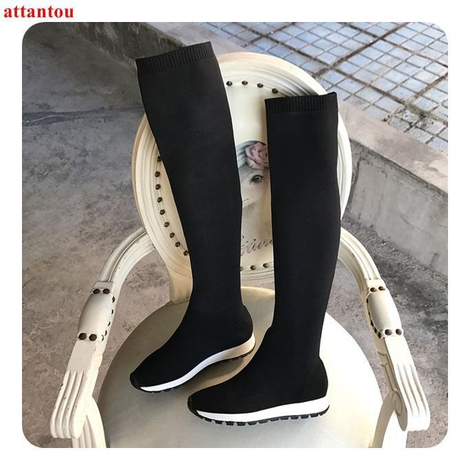 Großhandel Elastische Strick Woolen Frau Lange Stiefel Schwarz Weibliche Stiefel Flache Ferse Komfortable Schuhe 2019 Herbst Winter Mode Outfits Von