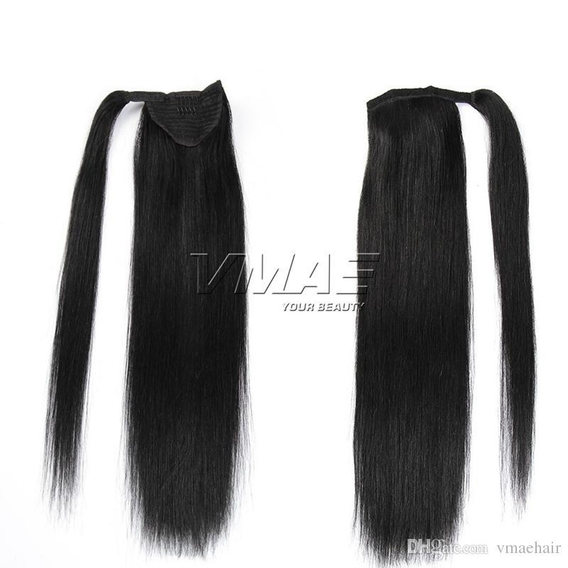 말꼬리 100 % 처녀 사람의 모발 연장 VMAE 머리에있는 포니 테일 120g 클립의 주위에 페루 마술 포장