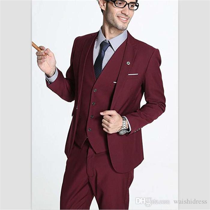 2018 waishidress синий атлас классический подходит мужские костюмы на заказ 3 шт. Мужские свадебные костюмы одна кнопка смокинги брюки костюм бесплатная доставка