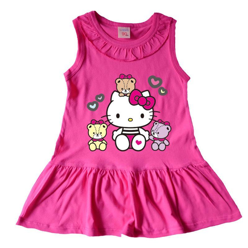 10376c68f Summer New Girls Dress cute Hello Kitty Kids Dress cotton Leisure Girls  clothes Children Dress Baby