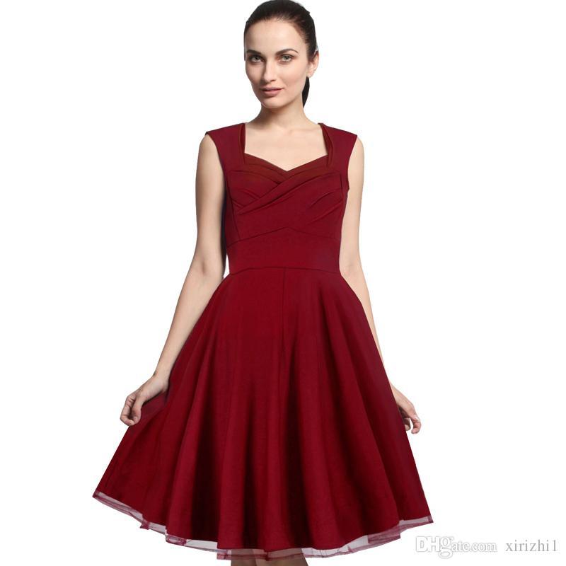 2018 Roupas Femininas de Verão Império A Linha Vestido Sem Mangas Cor Sólida Bainha Fina Colar Quadrado Vestido de Alta Waiste Vermelho