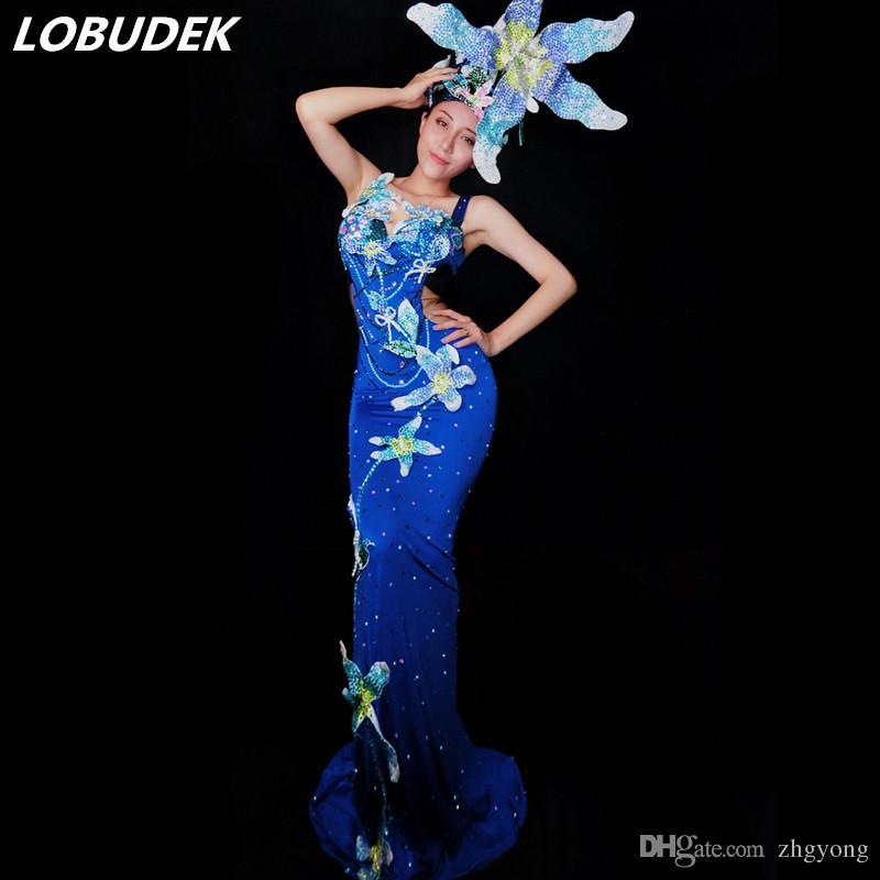 Runway Dress Blue Crystals Long Dress Colorful Rhinestones Flowers Headdress Women Models Catwalk Dresses Party Prom Stage Concert Costume