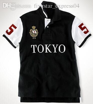 Скидка мужские повседневные рубашки поло Клуб Пони Сити Флаг Милан Рим Париж Дубай Лондон Токио хлопка с коротким рукавом Поло Спортивная рубашка