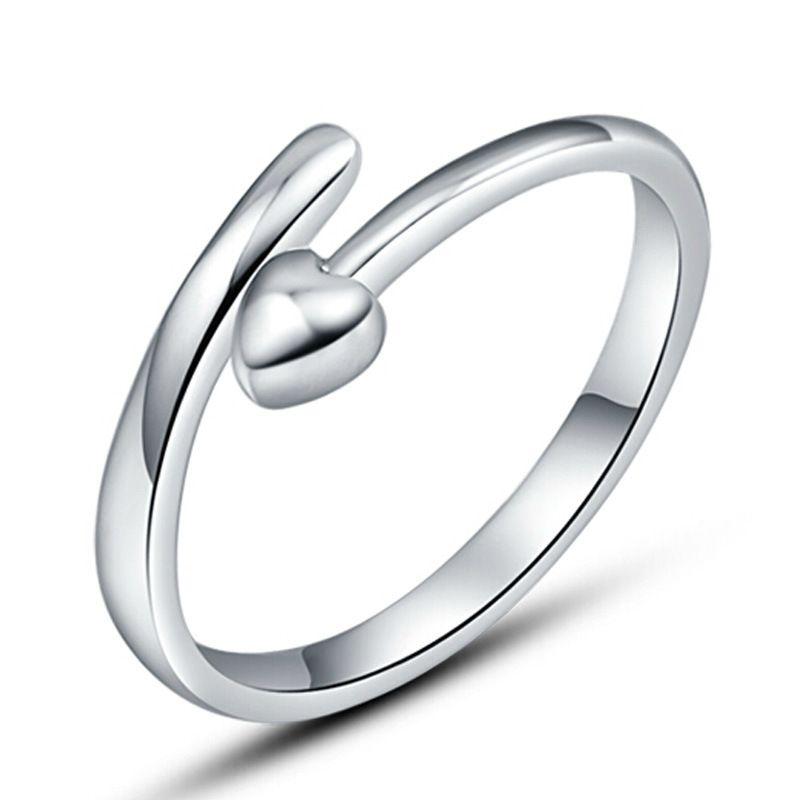 Único aberto artigos de prata capina anel pequeno ponto de amor do vintage infinito moda design aberto novo