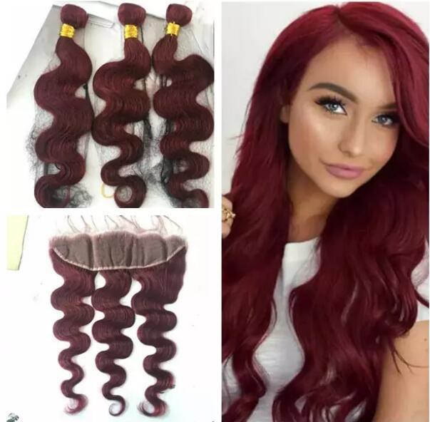 Бразильское вино красные волосы 3 связки имеет дело с фронтальной волны тела #99J бордовый волос переплетения пучки с 13x4 полный кружева фронтальной закрытия