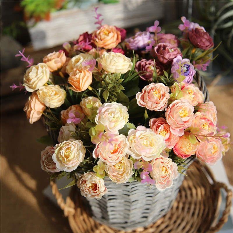 29 cm New Arrivals Tea Rose Bouquet Com Cores Diferentes Decoração Do Casamento Bonito Atacadistas de Alta Qualidade Bouquets De Noiva Barato