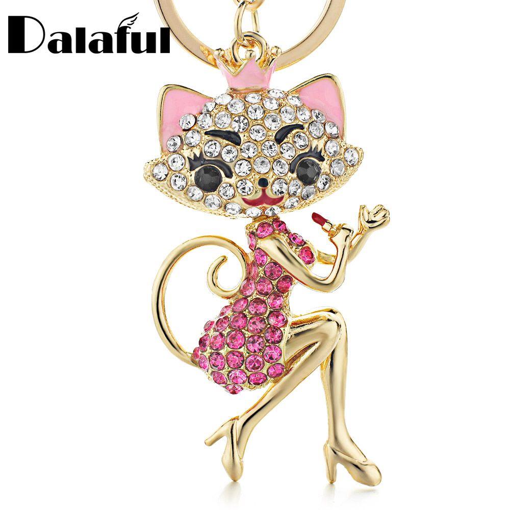 beijia Grace Crown Lipstick Cat Lady Crystal HandBag Pendant Keyrings Keychains For Car key Chains holder for women K170