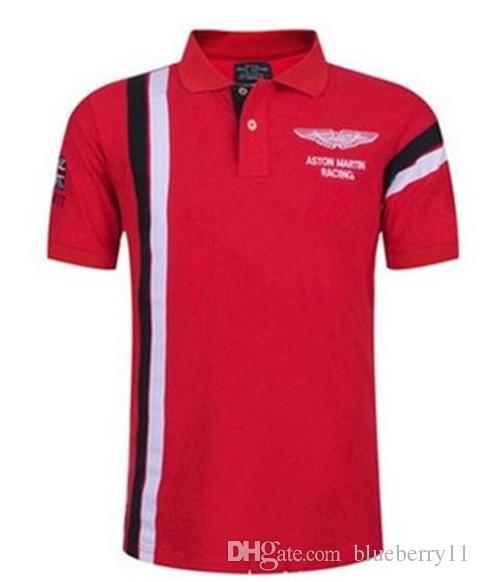 Summer Hot In Spain Fashion Sport Polo Shirt Men ASTON MARTIN RACING 100% Cotton Polos Shirts Red White