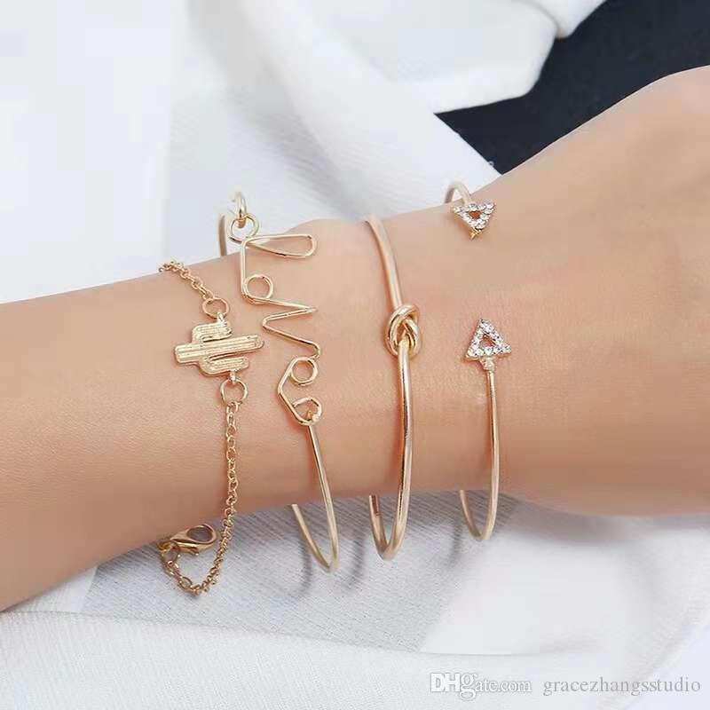 Lettres amour Cactus bracelet jonc diamant Triangle noeud bracelet définit femmes bijoux de mode doré accessoires de style de style coréen rue