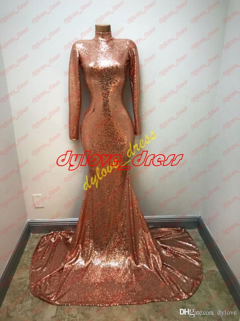 sexy cheap elegant plus size gold long sleeves mermaid sequined prom dresses evening dress 2018