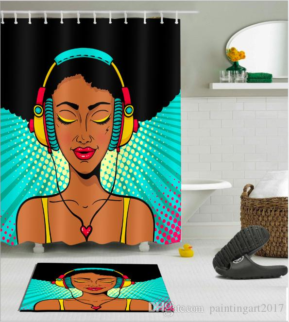 American Women 3D new style Design Print Pattern Irish Decorations Waterproof Bathroom Decor Fabric Shower Curtains Floor mats sets