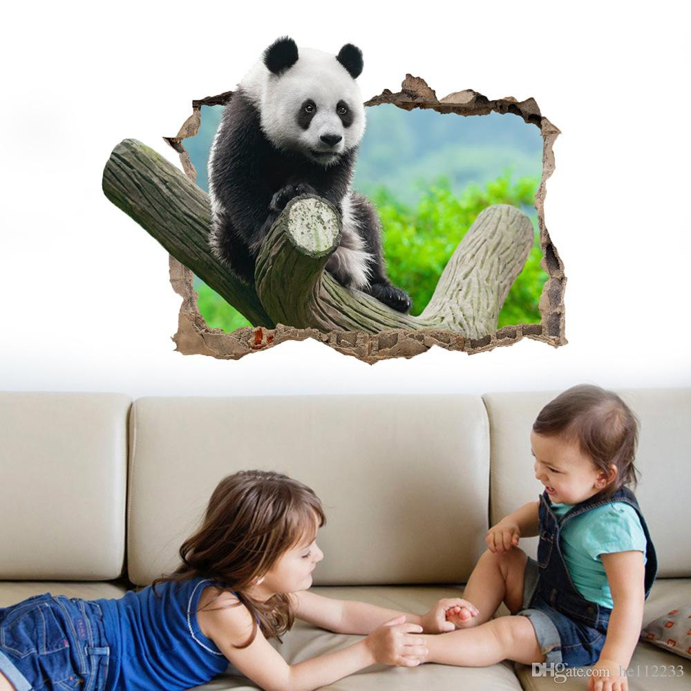 3D Stickers Cartoon Panda On The Tree Branches Wall Stickers Wallpapers Waterproof PVC Wall Murals Nursery Kid's Bedroom Background Decor