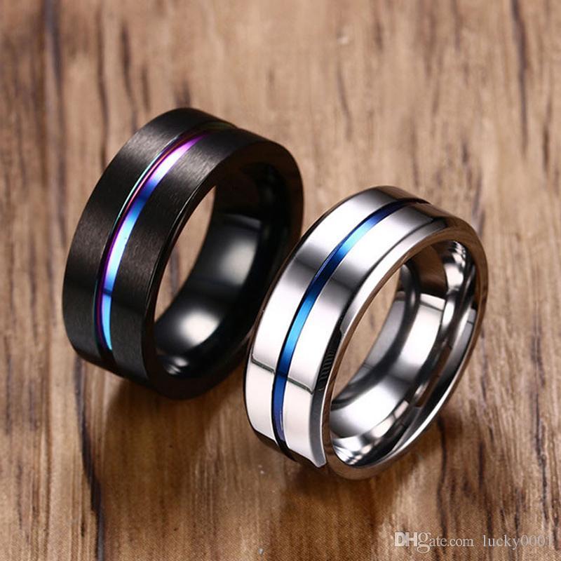 8 MM de prata preto de titânio anel de aço dos homens da moda rainbow sulco anel tendência anel de jóias de varejo por atacado