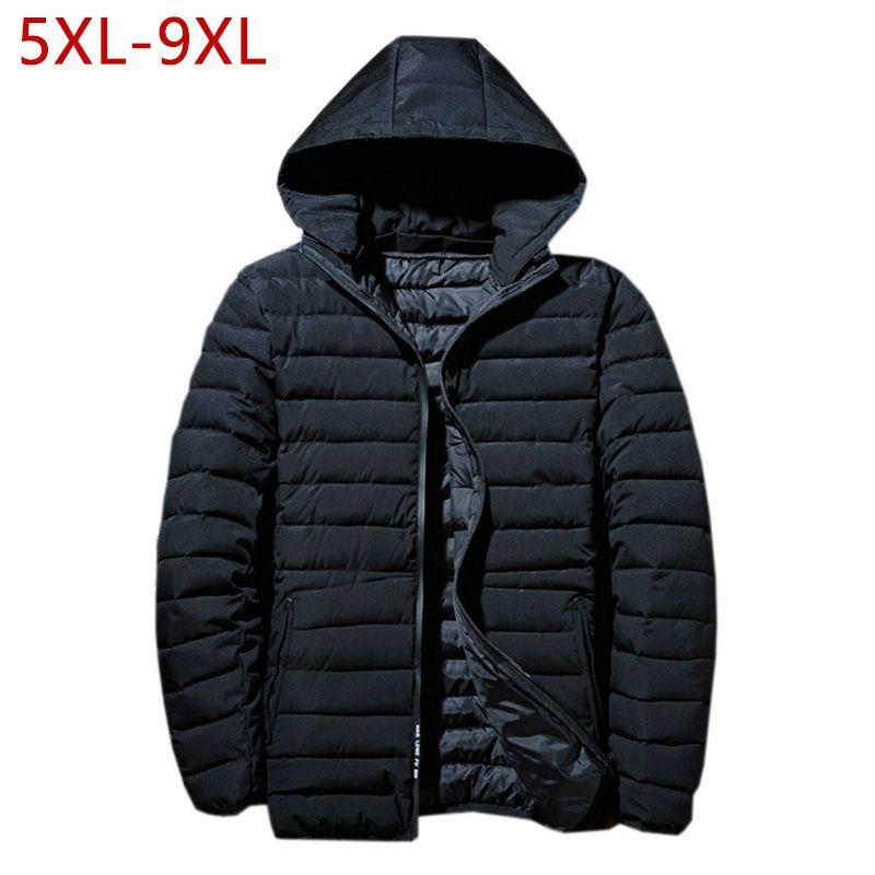 Plus Size 5XL-9XL Cotton Jacket Winter Thick Warm Baggy Windbreaker Men Black Parka Casual Classic  Male Coat Overcoat 2018