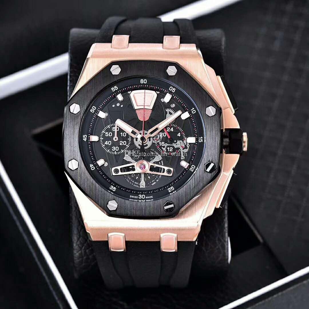 El enchufe de fábrica de la moda Marca de Calidad movimiento de cuarzo reloj multifunción de 44 mm mineral de vidrio templado espejo de la manera deportes de los hombres del reloj