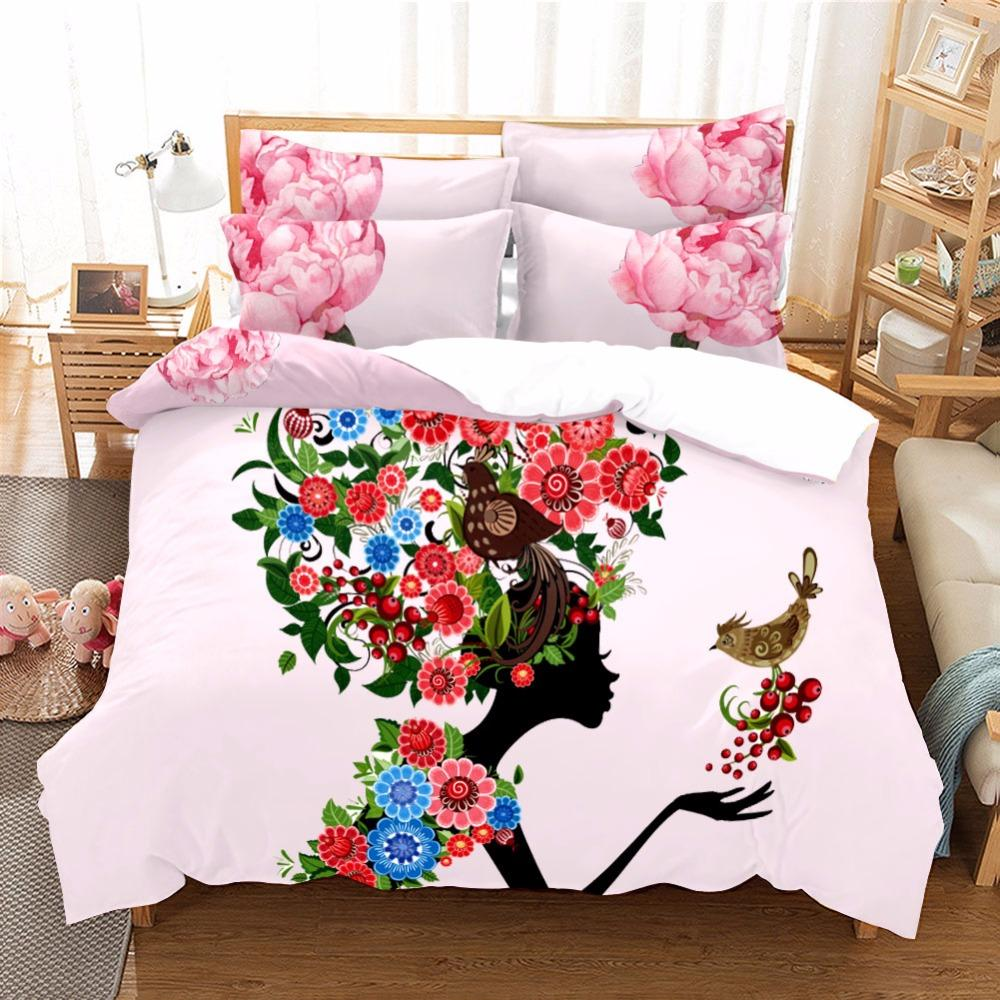 3 Pcs Miss Flower Comforter Bedding Sets Duvet Cover With Pillowcase Princessant Bedding Set Soft Flower Quilt Cover Wholesale F