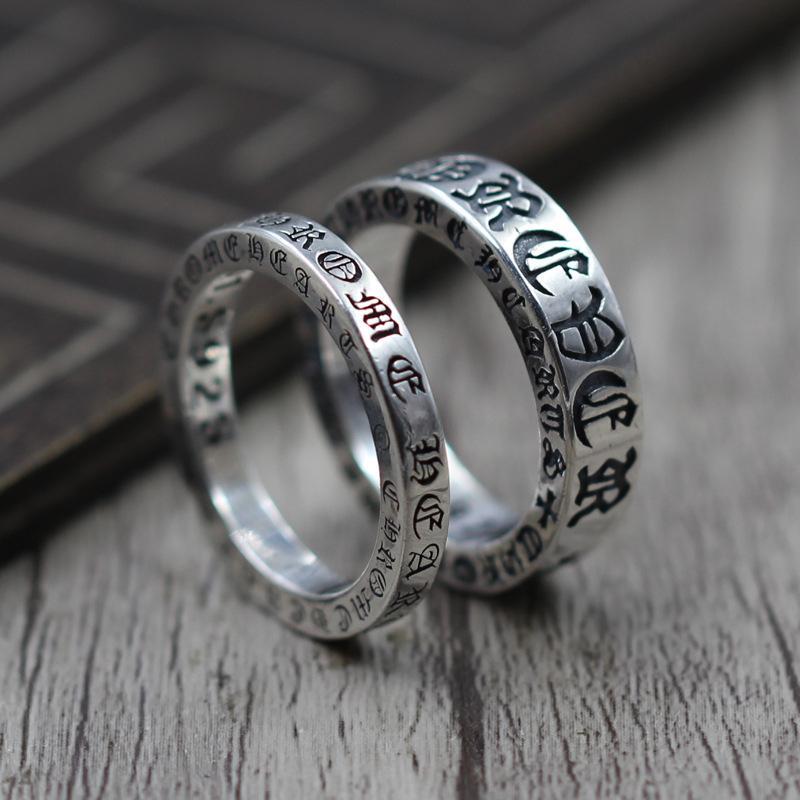 925 Стерлингового Серебра Ювелирные Изделия Личности Навсегда Пара Относится Кольцо Тайский Серебро Ретро Уникальное Кольцо