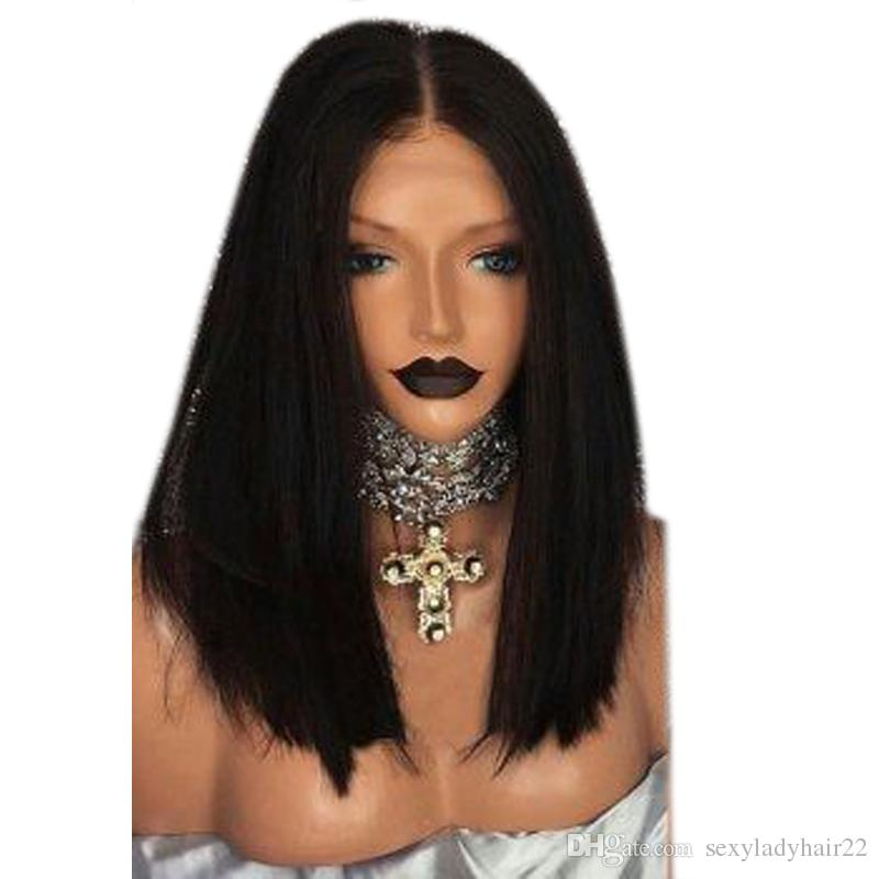 Stock Short Bob Wigs Natural Straight Black Wig Synthetic Lace Front Wig With Middle Parting Heat Resistant Hair For Women