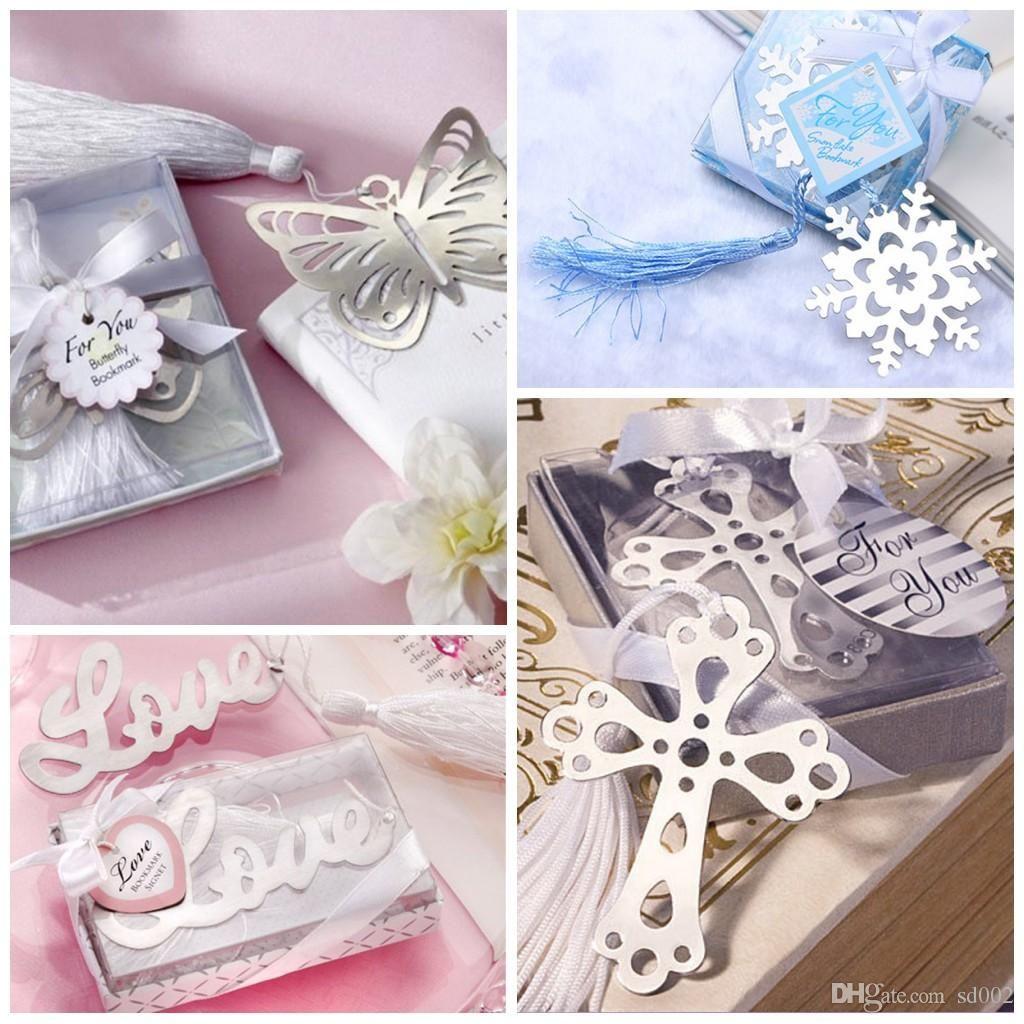 Recuerdos de boda Marcadores Cruz AMOR Letras Mariposa Forma de copo de nieve Marcador Ahuecado Diseño Marcador con borlas 1 7ab BB