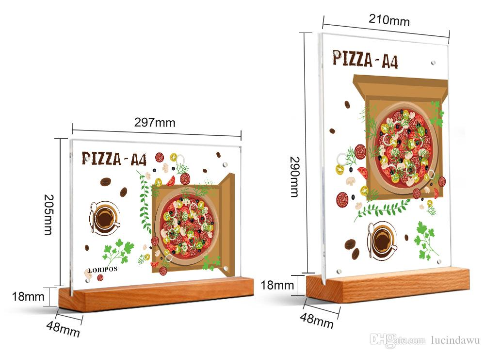 A4 photo frame acrylic Restaurant Wooden Price Tag Display Stand Table Desktop Sign menu tag stand advertising poster frame card holder rack