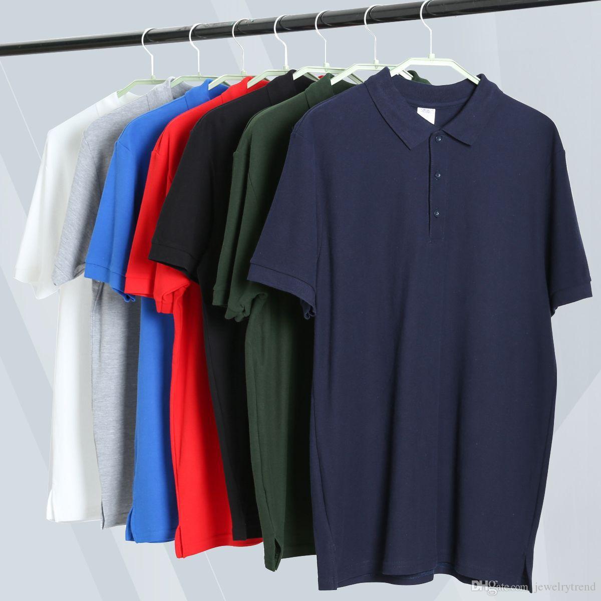Europa Fashion Summer Classic Polo da uomo da uomo tinta unita Top Tee cotone manica corta in cotone magliette camicia 7 colori S-2XL C3478
