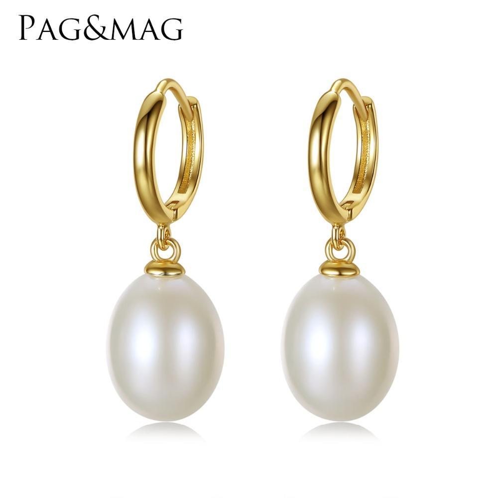 La clip dei monili dell'argento sterlina di marca 925 di PAGMAG sugli orecchini per gli orecchini della clip della perla del riso 10-11mm comercia il contenitore di regalo all'ingrosso