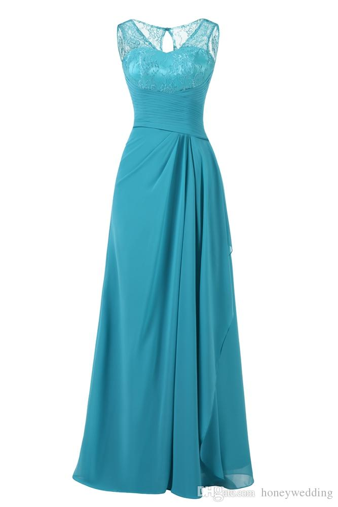 Turquoise Long Evening Dresses Cheap 2018 Lace Top Pleated Formal Women Prom Dress Party Gowns Plus Size Real Photo Dresses Evening Wear
